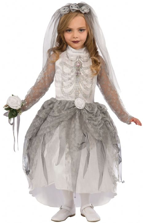 Girls Skeleton Bride Costume Day of the Dead Halloween Fancy Dress Outfit